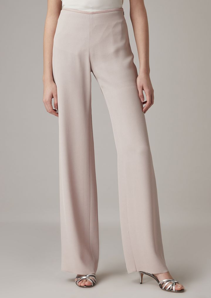 60aad620a7 Cropped pants in plain-colored silk blend cady