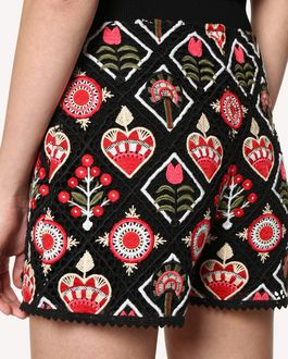 REDValentino Hearts and Flowers Macramé shorts