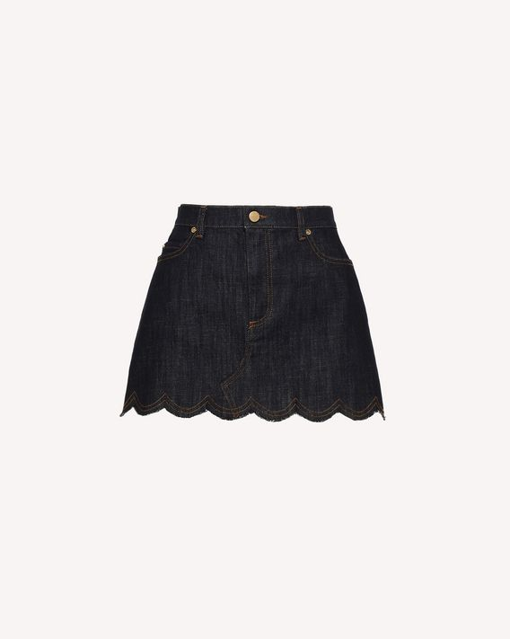 REDValentino Scallop detail denim mini skirt