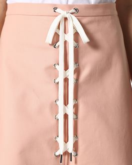 REDValentino Stretch cotton skirt with lacing detail