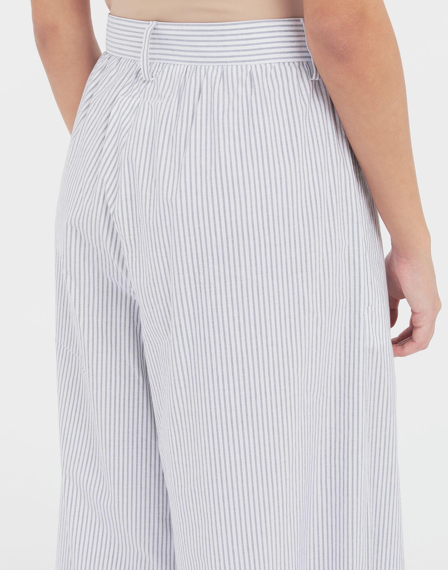 MM6 MAISON MARGIELA Flared striped cotton pants Trousers Woman b