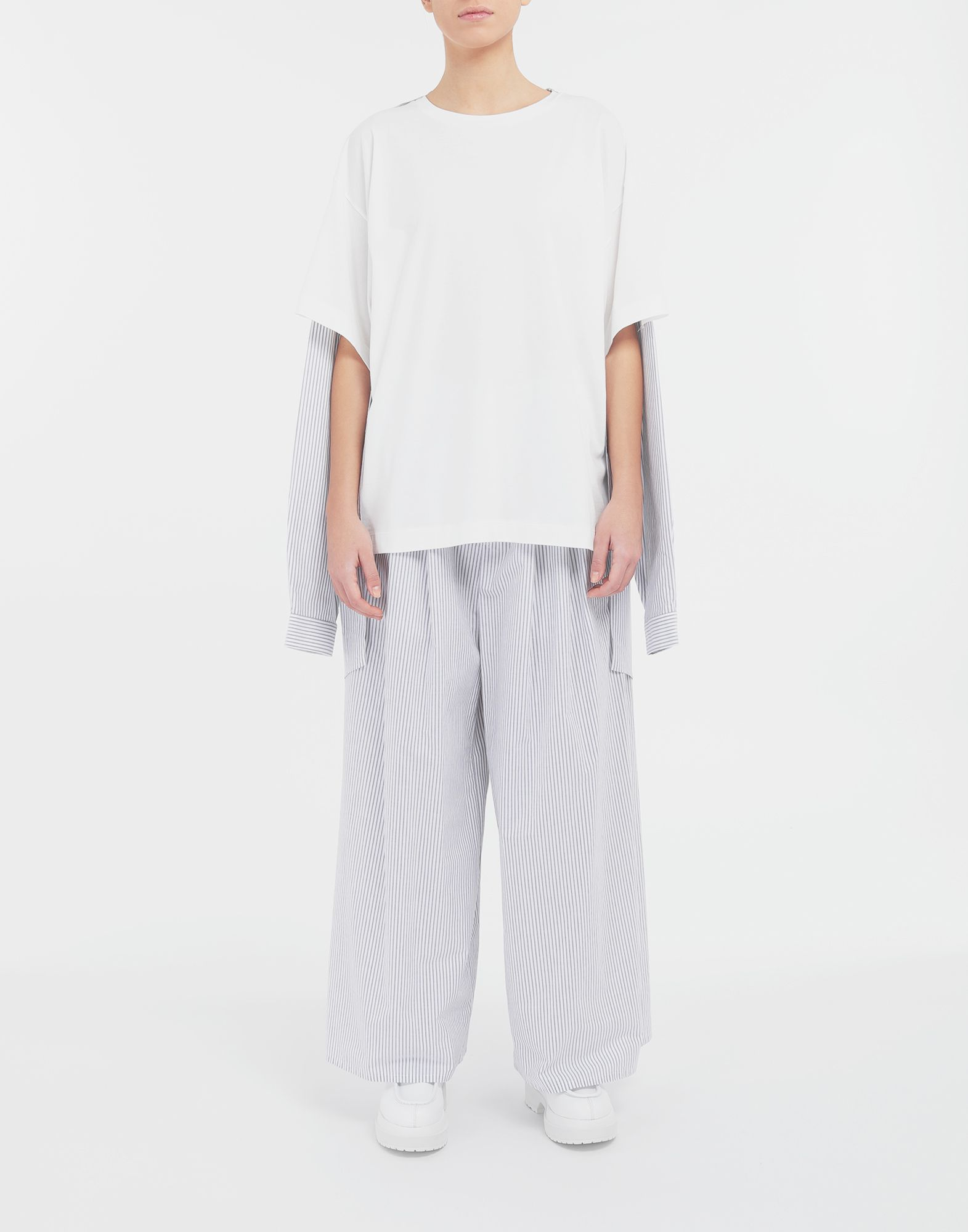 MM6 MAISON MARGIELA Flared striped cotton pants Trousers Woman d