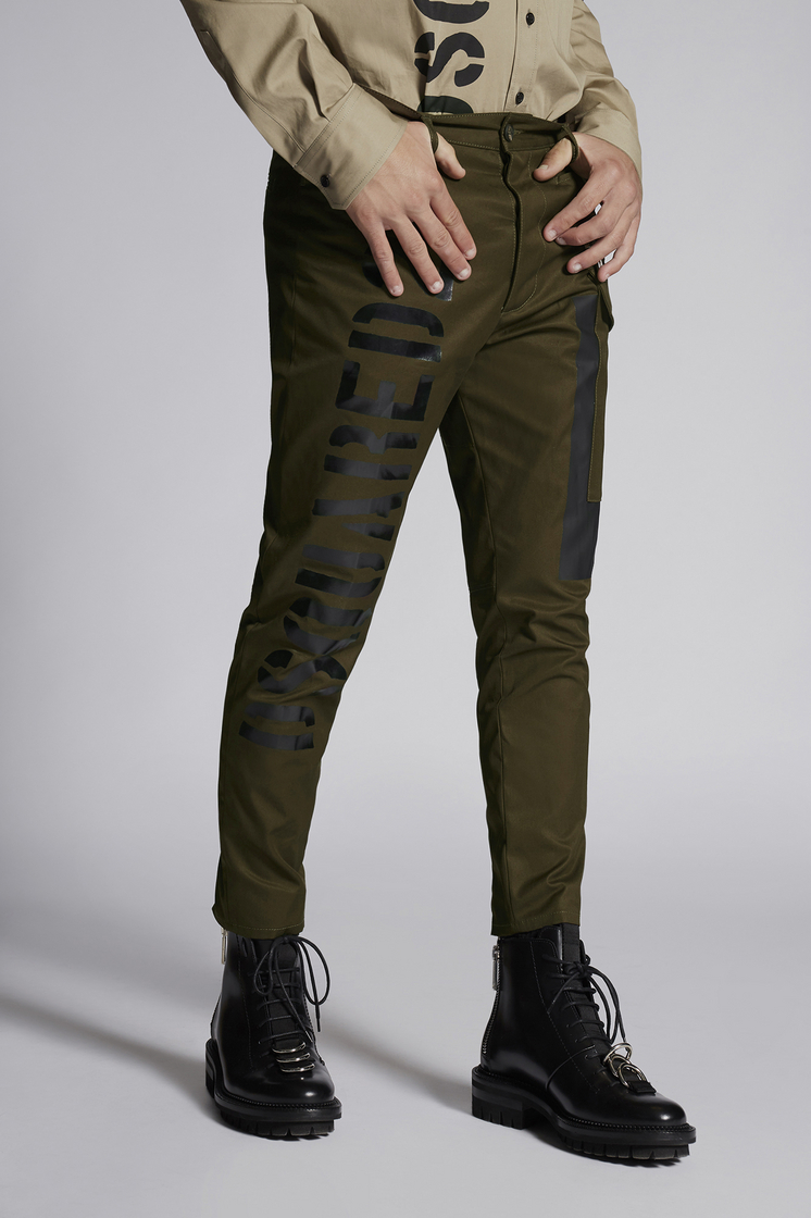 DSQUARED2 Cotton Sexy Cargo Pant With Shiny Military Logo Print  Trousers Man