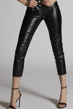 DSQUARED2 Calf Leather Stephaine Kiodo And Zips Pants Leather trousers Woman