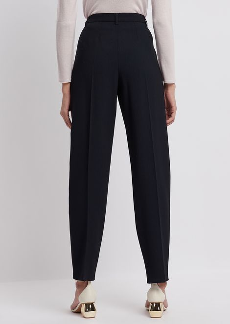 Stretch wool crêpe trousers with pleats