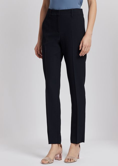 Cropped trousers in textured fabric