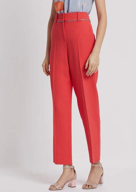 Cady trousers with crepe de chine piping