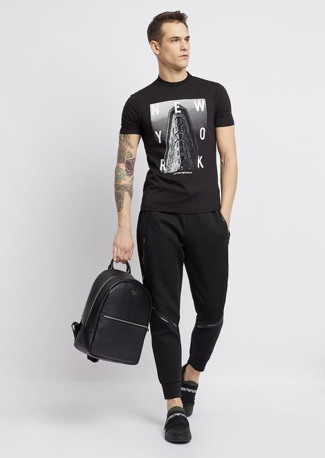 Stretch cotton jogging trousers with logo bands