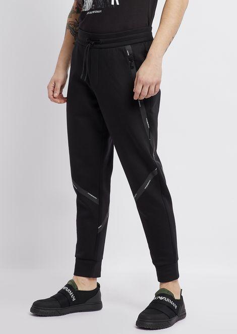 Pantalones deportivos de algodón elástico con cinta con logotipo