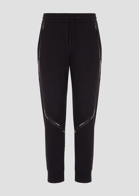 Stretch cotton jogging pants with logo bands