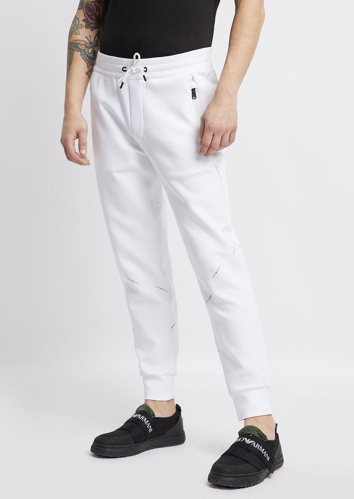 Pantalones deportivos de algodón elástico con cinta con logotipo ... 447191cd8698