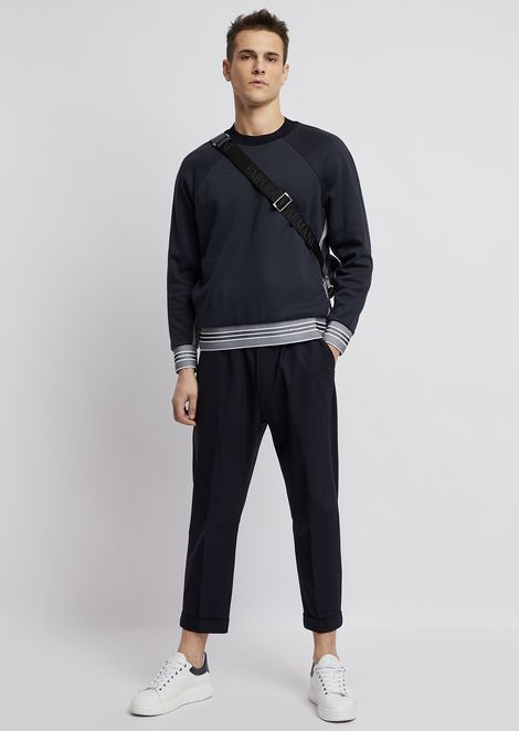 Technical wool trousers with elasticated waistband and pleats