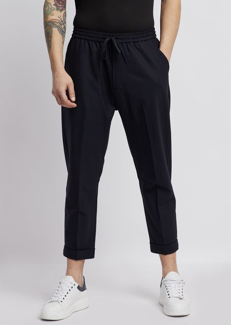 Technical wool pants with stretch waistband and pleats