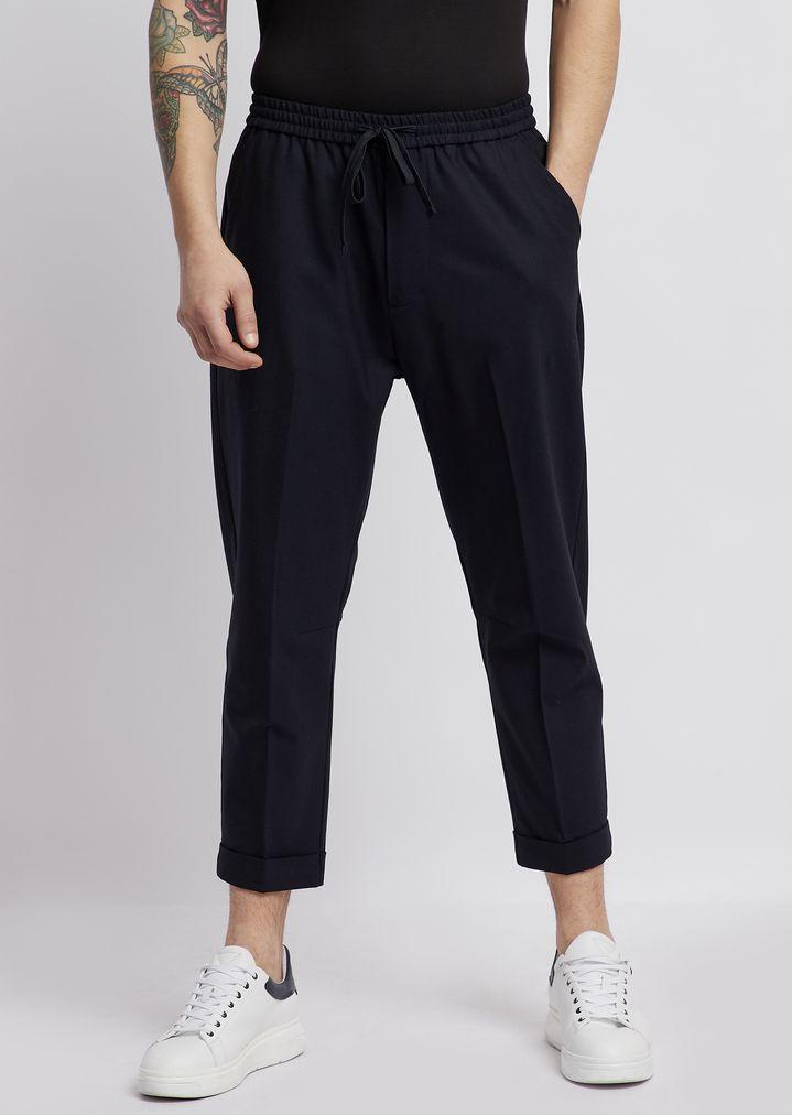 6bd3fe856c Pantaloni in lana tecnica con vita elastica e pinces | Uomo | Emporio Armani