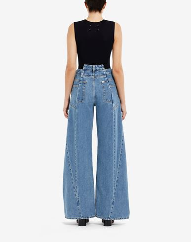 PANTS Décortiqué asymmetric wide-leg pants Blue