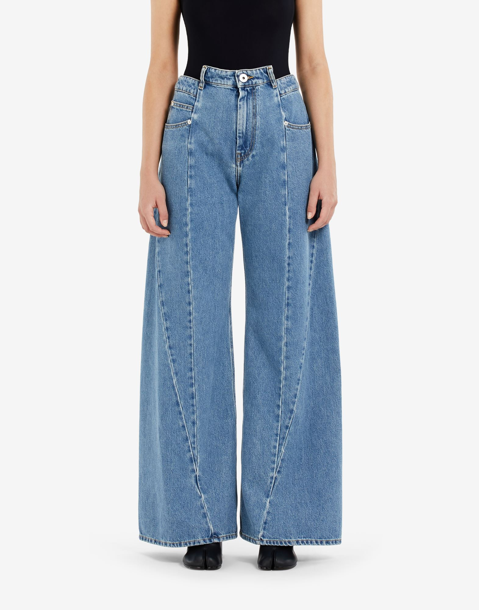 MAISON MARGIELA Décortiqué asymmetric wide-leg pants Jeans Woman a