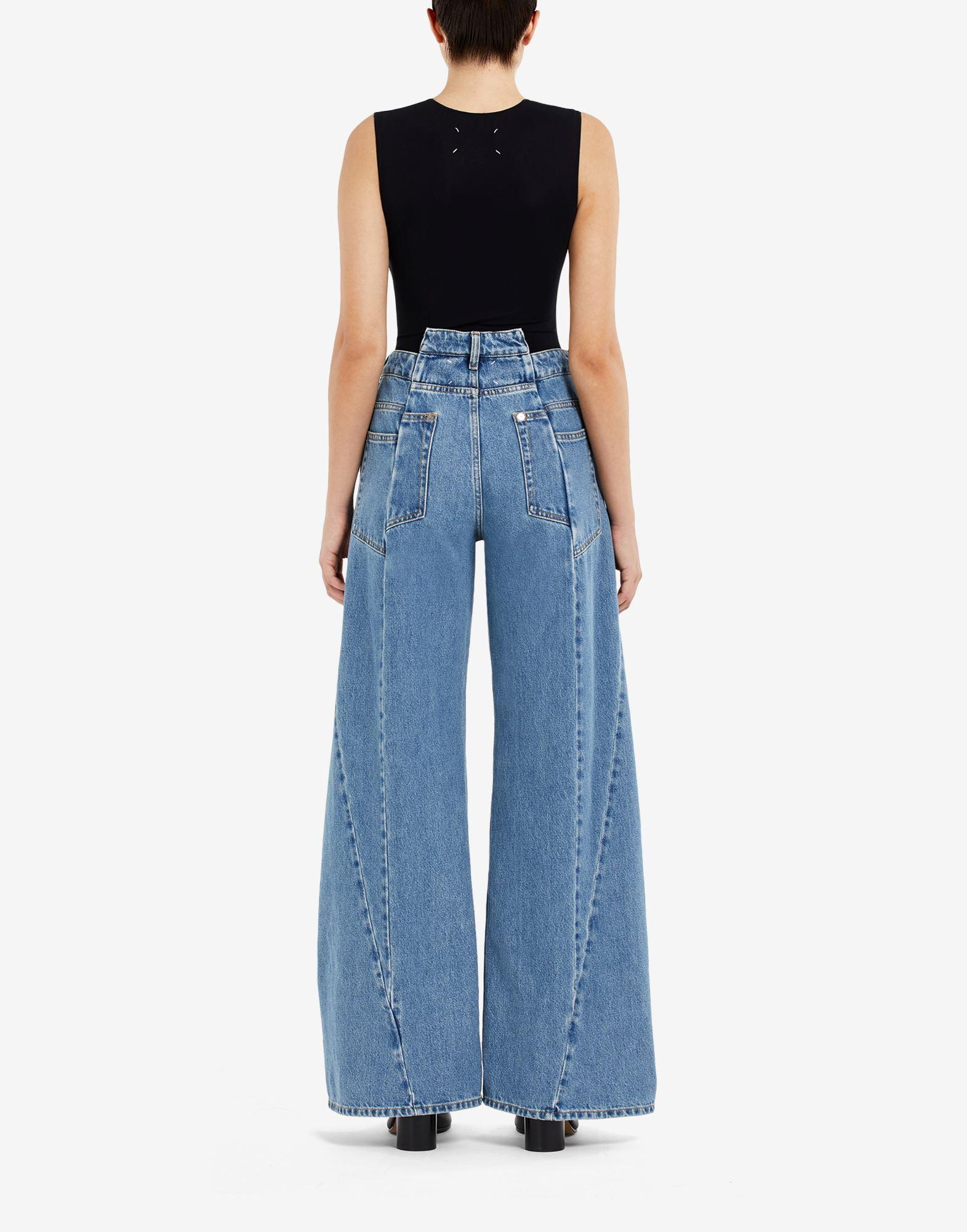MAISON MARGIELA Pantalones de pernera ancha con diseño asimétrico decorticado Pantalones vaqueros Mujer e