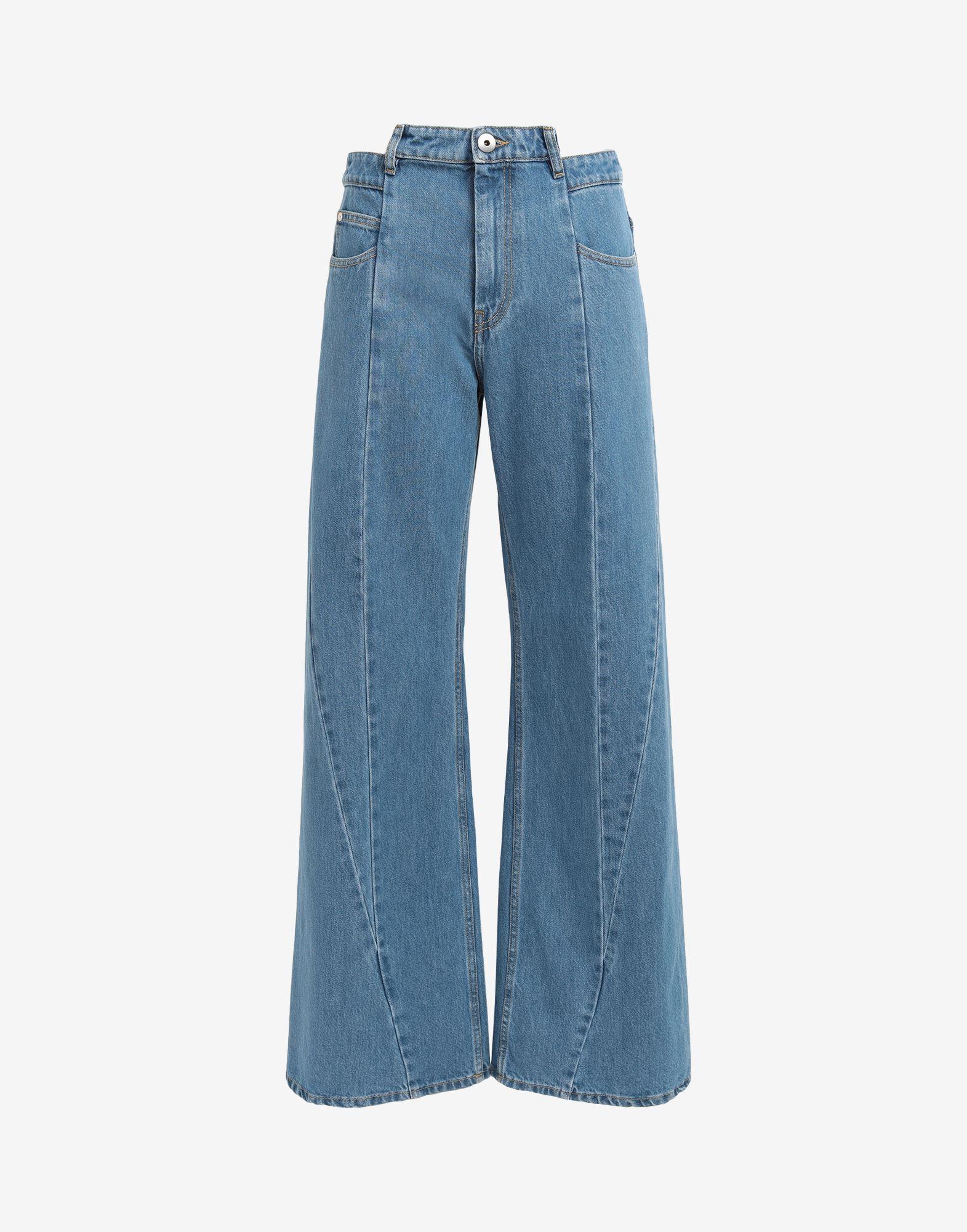 MAISON MARGIELA Pantalones de pernera ancha con diseño asimétrico decorticado Pantalones vaqueros Mujer f