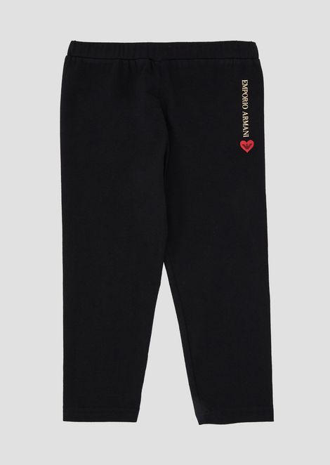 Stretch cotton jersey leggings with logo and heart print