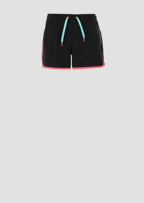 Stretch cotton shorts with contrasting trim