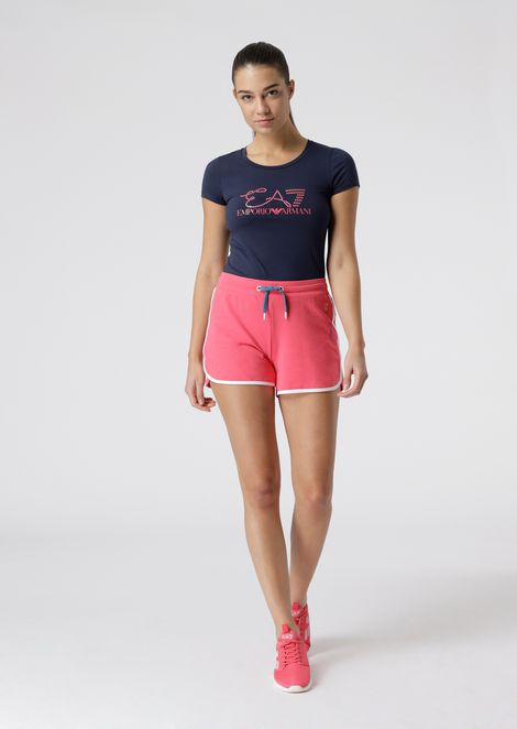 Stretch cotton shorts with contrasting trims