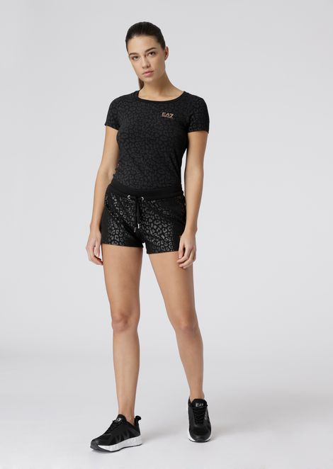 Cotton-fleece shorts with animal print pattern