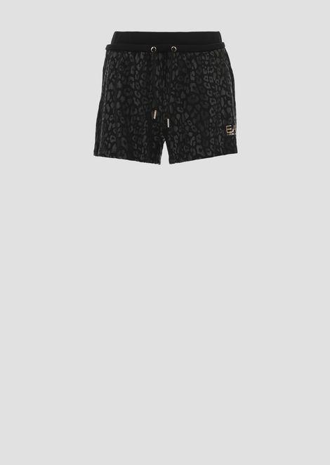 Shorts in felpa di cotone fantasia animalier