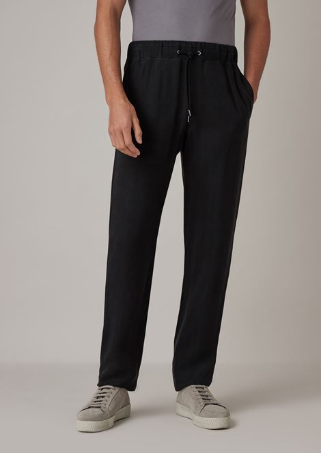 Drawstring pants in washed cupro natté
