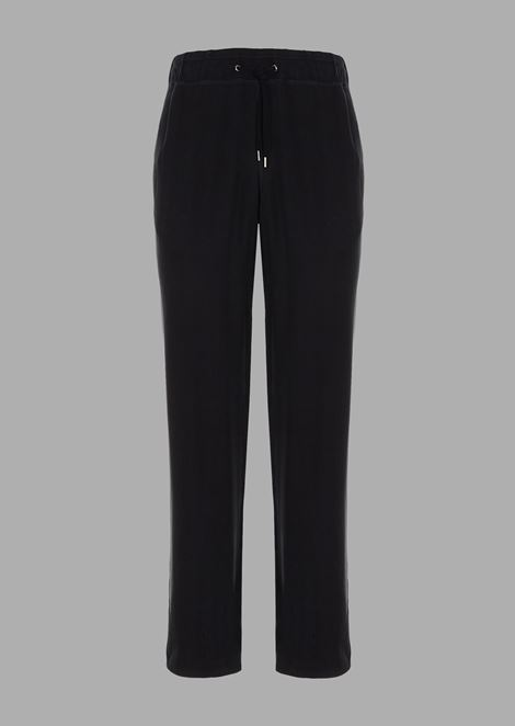 Drawstring trousers in washed cupro natté
