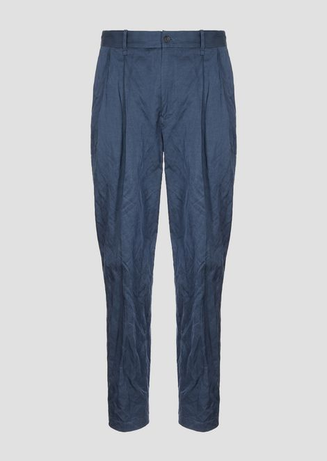 Crinkle cotton viscose trousers with darts