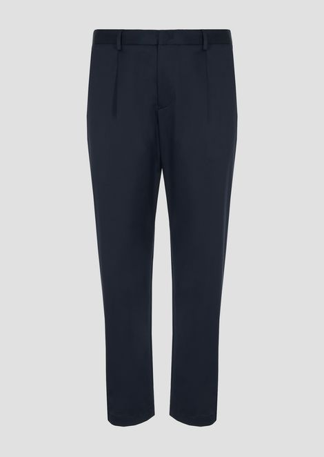 Stretch cotton trousers with darts