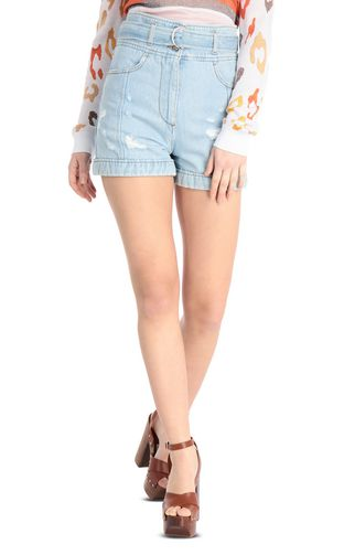 JUST CAVALLI Shorts Woman Ripped denim shorts f