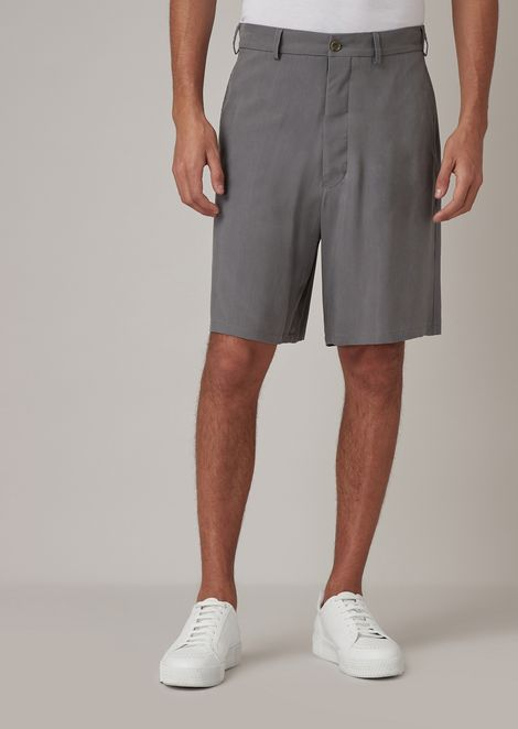Washed cupro natté Bermuda shorts