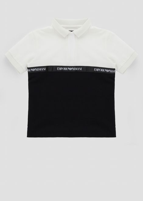 Two-tone polo shirt in pure cotton with central logo band