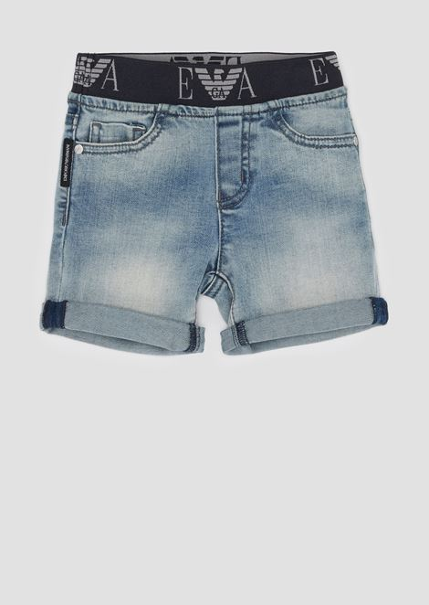Denim shorts with logo elastic