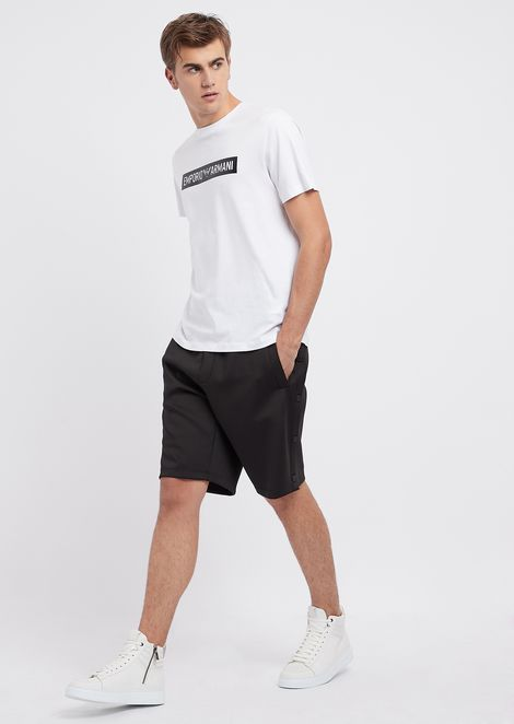 Tech fabric Bermuda shorts with snap buttons