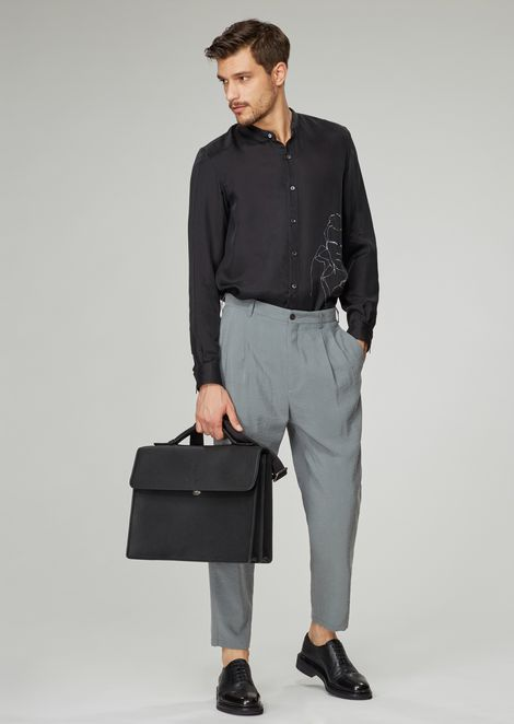 Silk blend twill trousers with pleats