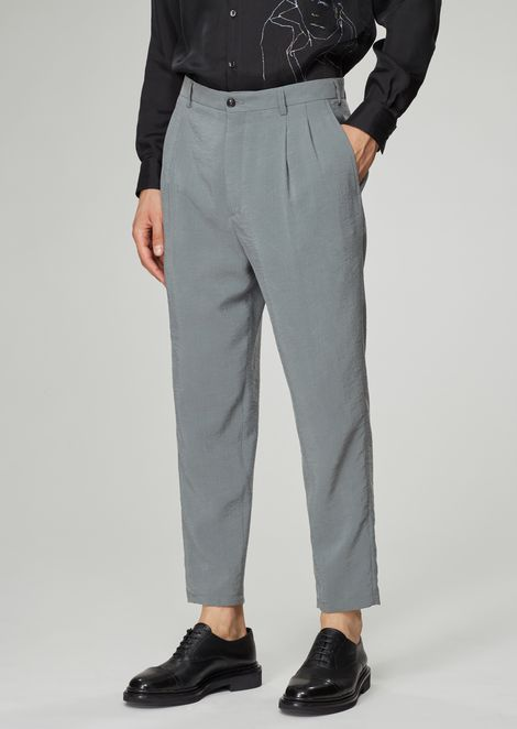 Silk blend twill pants with pleats