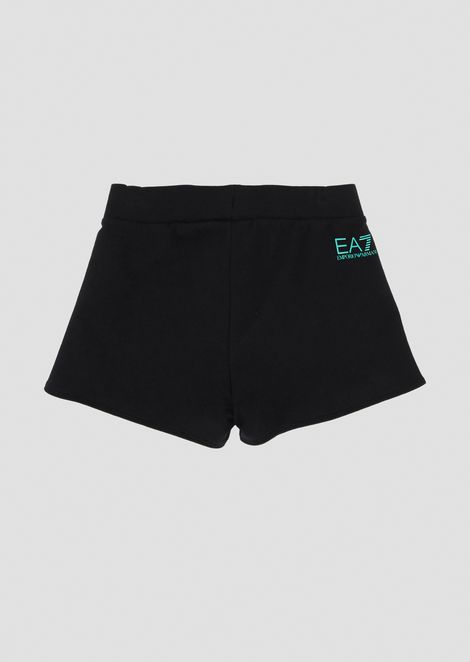 Stretch cotton shorts with contrasting piping