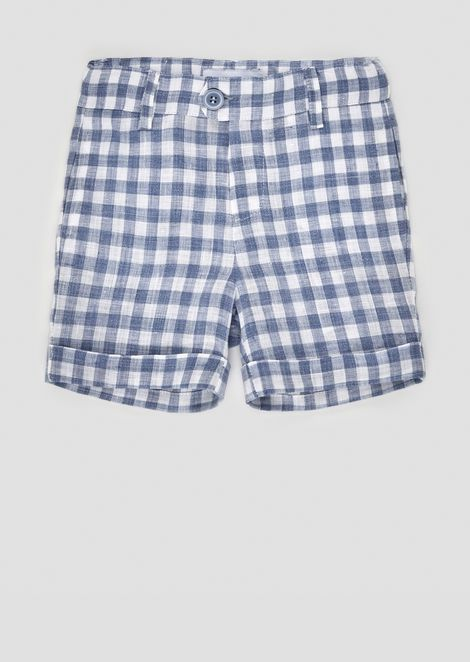 Checked linen Bermuda shorts