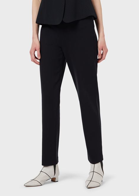 Slim fit trousers in Milano knit fabric with satin band