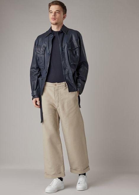 Cotton moleskin pants with wide hem