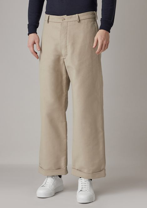 Cotton moleskin trousers with wide hem