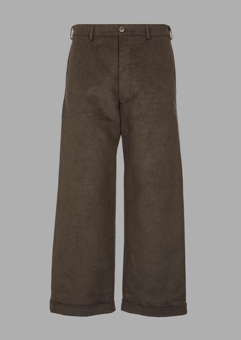 Cotton moleskin trousers with wide hem
