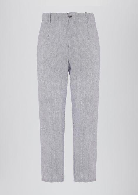 Trousers in fine-stripe print seersucker fabric