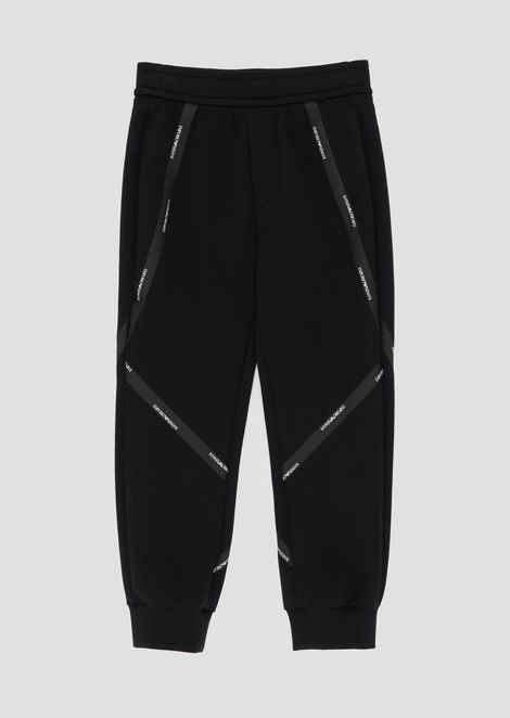 Fleece jogging trousers with logo taping