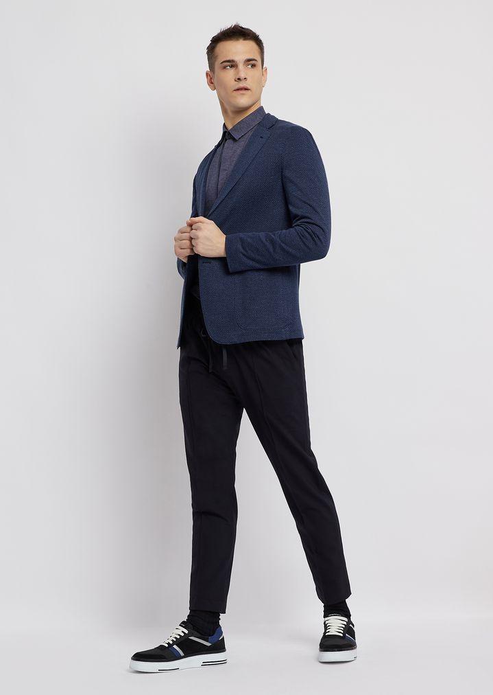 pantalon en laine technique avec taille lastiqu e et. Black Bedroom Furniture Sets. Home Design Ideas