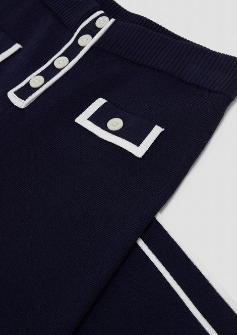 パラッツォパンツ ニット素材 コントラストトリム&ポケット