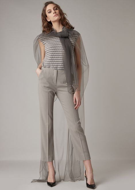 Silk blend cady cropped trousers