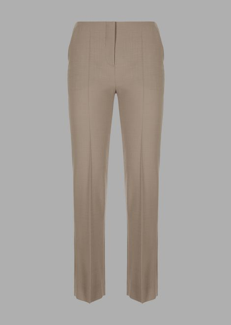 Silk blend cady cropped pants
